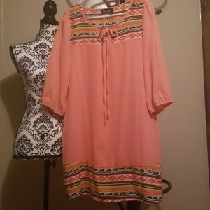 Stunning Coral Dress with Tribal Print NWOT